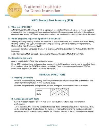 Student Test Summary (STS) Form Directions