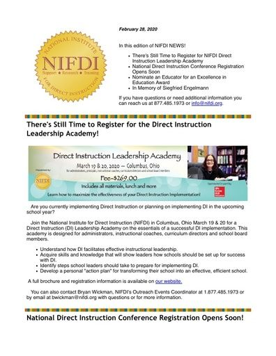 NIFDI News! - February, 2020 Edition