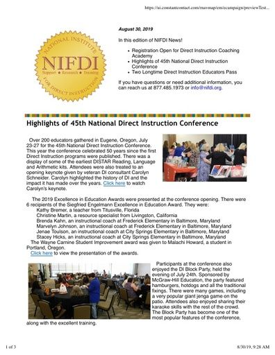 NIFDI NEWS! August 30, 2019 Edition