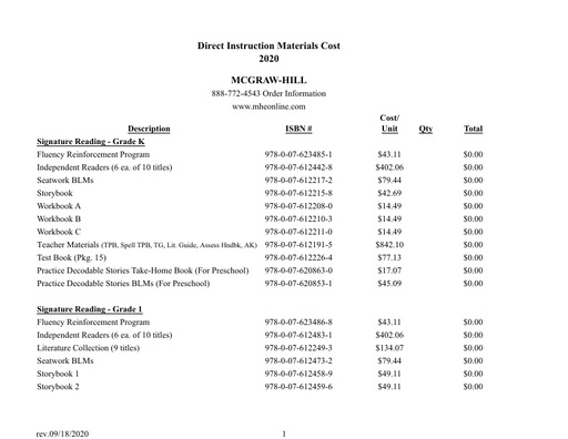 DI Materials Cost Worksheet