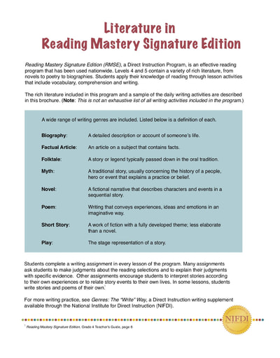 Literature in Reading Mastery Signature Edition