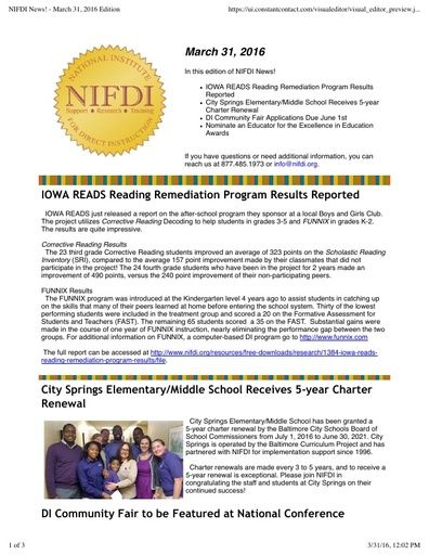 NIFDI News! March 2016 Edition
