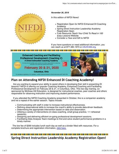 NIFDI News! November, 2019 Edition
