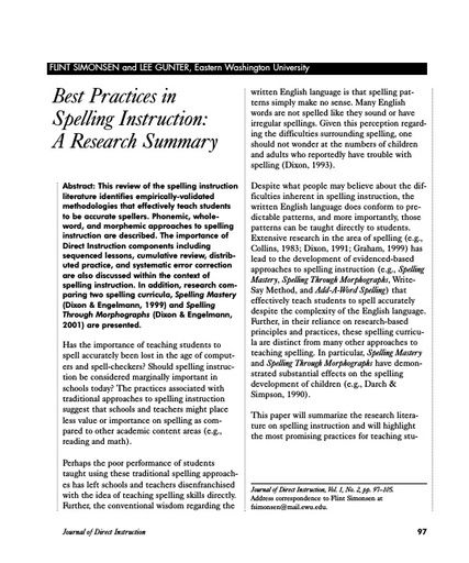 Best Practices in Spelling Instruction: A Research Summary