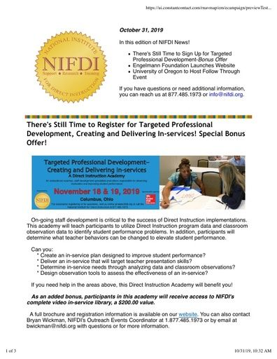 NIFDI NEWS! October 31, 2019 Edition