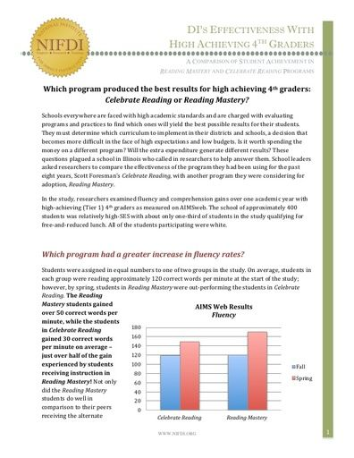 Researchers Find Reading Mastery Outperforms Celebrate Reading in Study with High Performing 4th Graders
