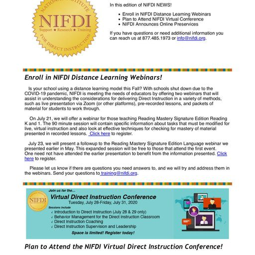 NIFDI News!   June, 2020 Edition