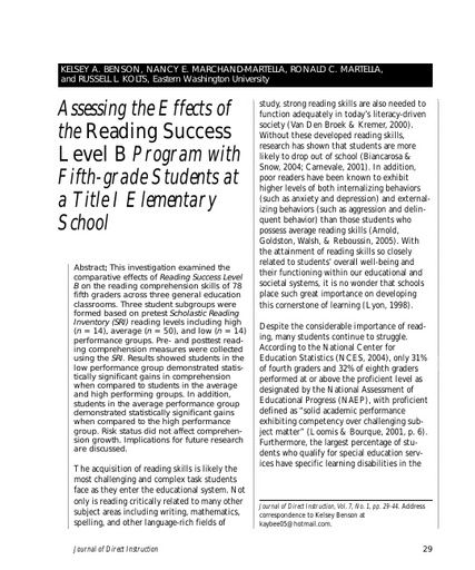 Assessing the Effects of the Reading Success Level B Program with Fifth-grade Students at a Title I Elementary School