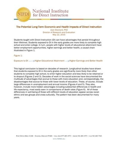 The Potential Long-Term Economic and Health Impacts of Direct Instruction, May 22, 2015