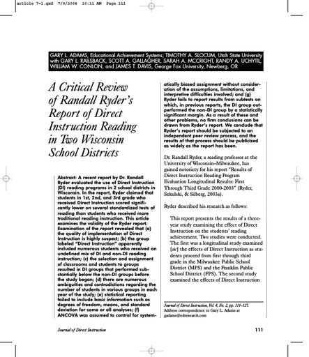 A Critical Review of Randall Ryder's Report of Direct Instruction Reading in Two Wisconsin School Districts