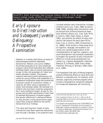 Early Exposure to Direct Instruction and Subsequent Juvenile Delinquency: A Prospective Examination