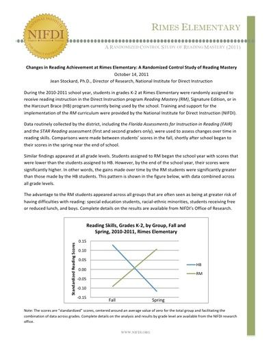 Rimes Elementary: A Randomized Control Study of Reading Mastery (Florida)