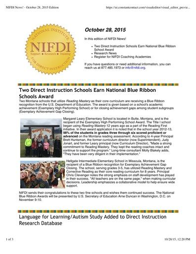 NIFDI News! 10-28-15 Edition
