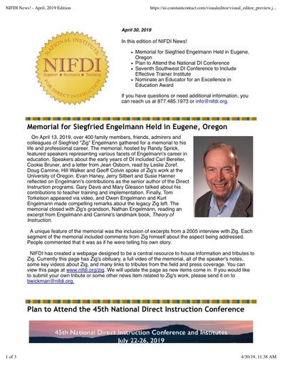 NIFDI News! April, 2019 Edition