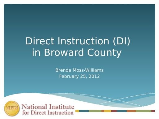 DI in Broward County Presentation – Brenda Moss-Williams 2/25/12