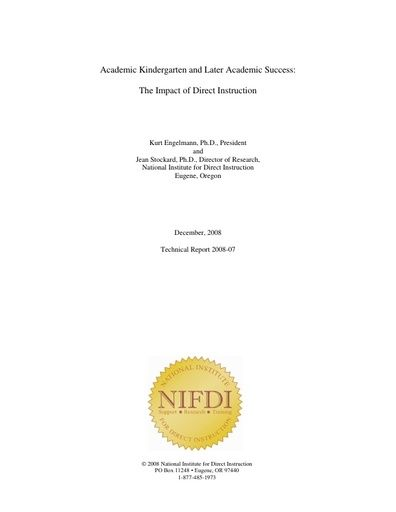 2008-7: Kindergarten and Later Academic Success: The Impact of Direct Instruction