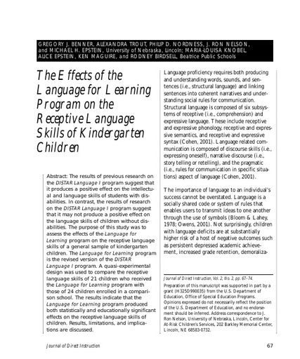 The Effects of the Language for Learning Program on the Receptive Language Skills of Kindergarten Children