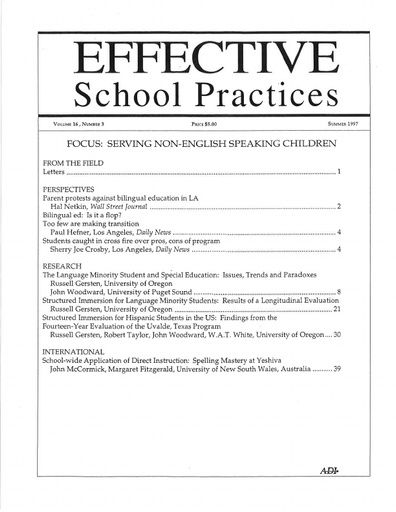 Effective School Practices, Vol. 16, No. 3 - Summer 1997