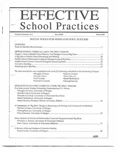 Effective School Practices, Vol. 16, No. 1 & 2 - Fall 1996/Winter 1997
