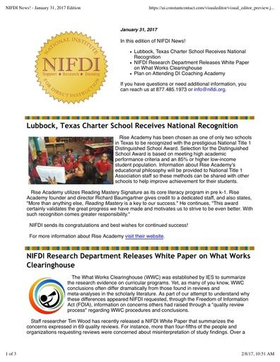 NIFDI News! January, 2017 Edition