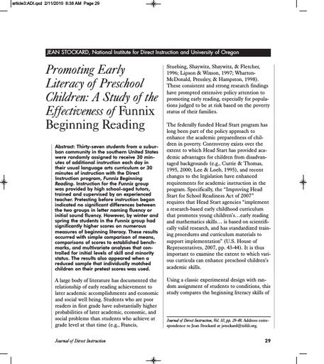 Promoting Early Literacy of Preschool Children: A Study the Effectiveness of Funnix Beginning Reading