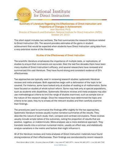 Summary of Literature Regarding the Effectiveness of Direct Instruction and Projections of Changes in Achievement, October 24, 2013