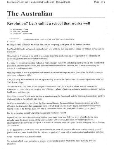 Revolution? Let's Call it a School that Works Well (The Australian, Dec 2010)