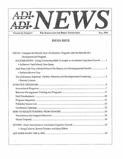 DI News, Vol. 11, No. 5 - Fall 1992 (Index Issue of DI News from 1988-1992)
