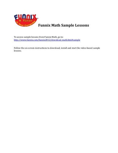 Funnix Math Sample Lessons
