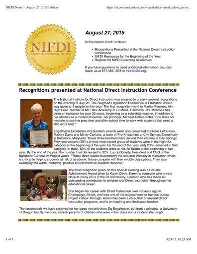 NIFDI News! 08-27-15 Edition
