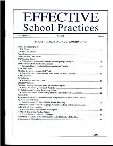 Effective School Practices, Vol. 14, No. 4 - Fall 1995