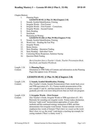 (DVD #09) Reading Mastery I - Lessons 85-104 (1 Plus, L. 32-50)