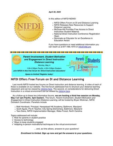 NIFDI News! April 30, 2020 Edition