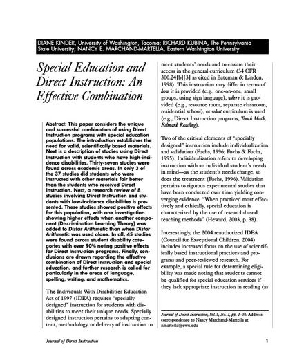 Special Education and Direct Instruction: An Effective Combination