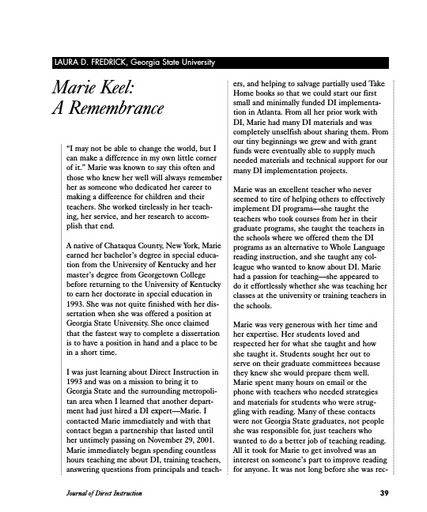 Marie Keel: A Remembrance