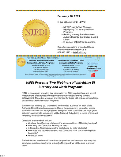 NIFDI NEWS! February, 2021 Edition