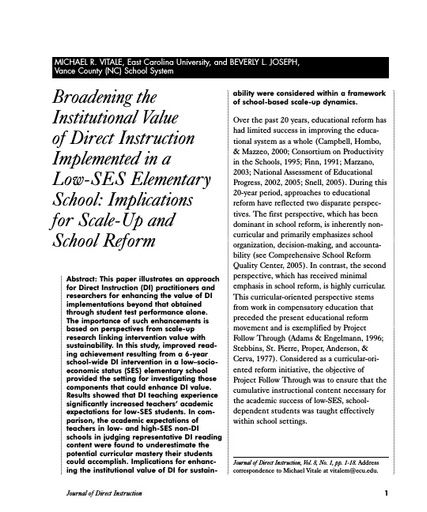 Broadening the Institutional Value of Direct Instruction Implemented in a Low-SES Elementary School:Implications for Scale-Up and School Reform