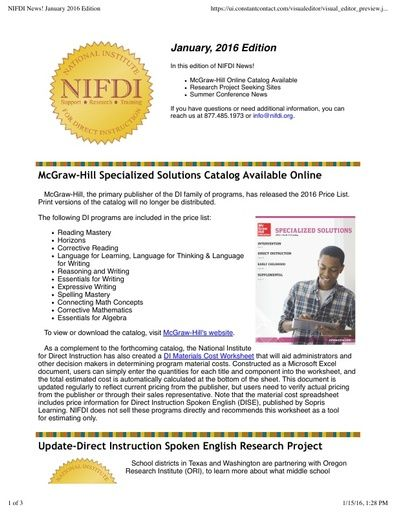 NIFDI News! January 2016 Edition
