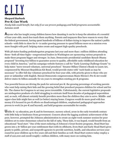 Pre-K Can Work by Shep Barbash (City Journal, Autumn 2008)
