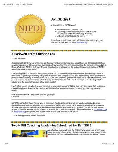 NIFDI News! 07-28-15 Edition