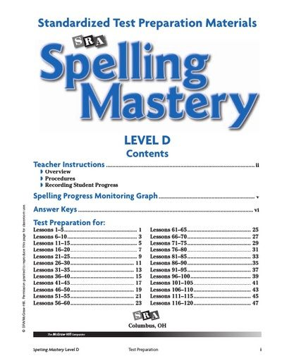 Spelling Mastery Level D Test Prep