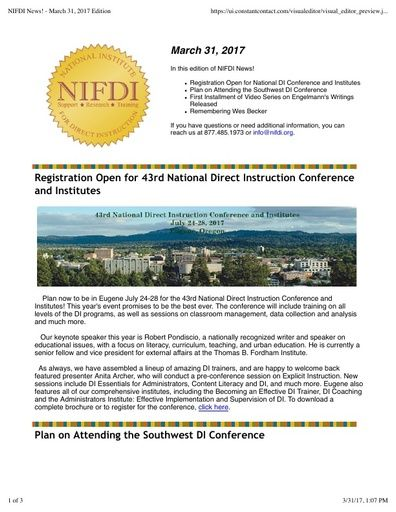 NIFDI News! March, 2017 Edition