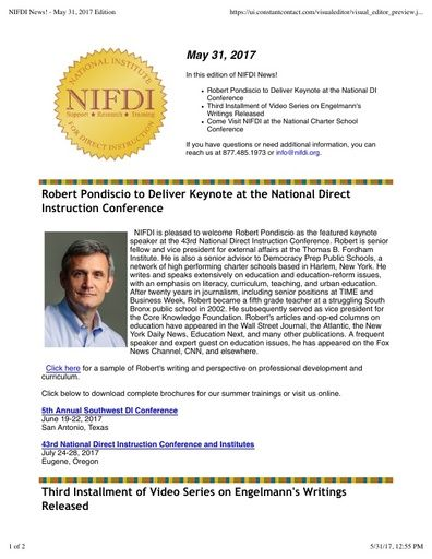 NIFDI News! May 2017 Edition