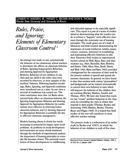 Rules, Praise, and Ignoring: Elements of Classroom Control