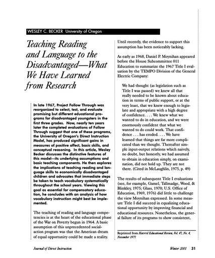 Teaching Reading and Language to the Disadvantaged—What We Have Learned from Research