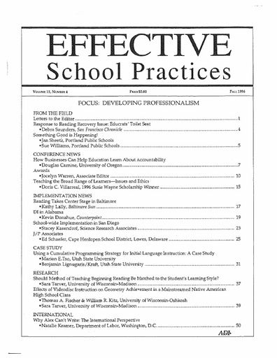 Effective School Practices, Vol. 15, No. 4 - Fall 1996